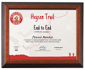 completion certificates for the heysen trail friends of the heysen