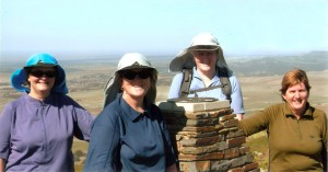 Helen Cradock, Rhonda Dempster, Bev McLeod and Ralene Shaw and on top of Mt Bryan
