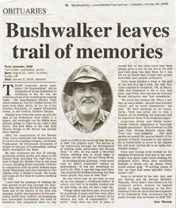 Adelaide Advertiser, obituary, Terry Lavender, 24th January 2004